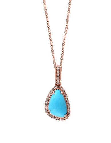Effy 14K Rose Gold Diamond 2.8 Total Carat Weight Turquoise Pendant Necklace-TURQUOISE-One Size