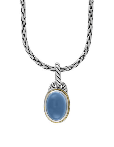 Effy 18K Yellow Gold Quartz Chalcedony and Sterling Silver Necklace-LIGHT BLUE-One Size
