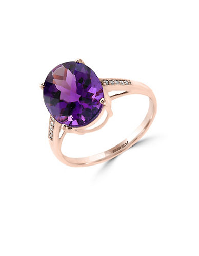 Effy 14K Rose Gold Amethyst Ring with 0.04TCW Diamonds-AMETHYST-7