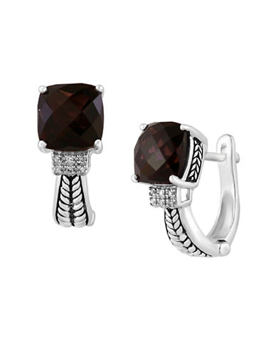 Effy Smoky Quartz 0.04 TCW Diamond Accent Earrings-BROWN QUARTZ-One Size