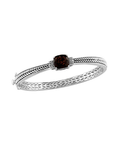 Effy Smoky Quartz 0.06 TCW Diamond Accent Bangle-BROWN-One Size
