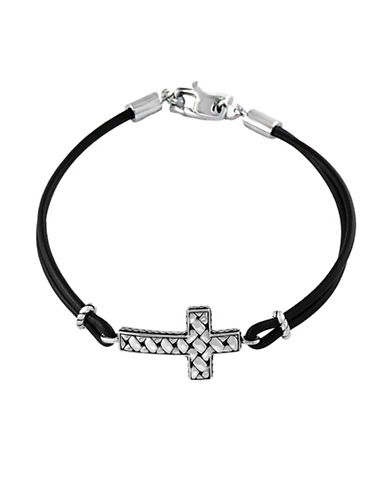 Effy Mens Sterling Silver Cross Tennis Bracelet-BLACK-One Size