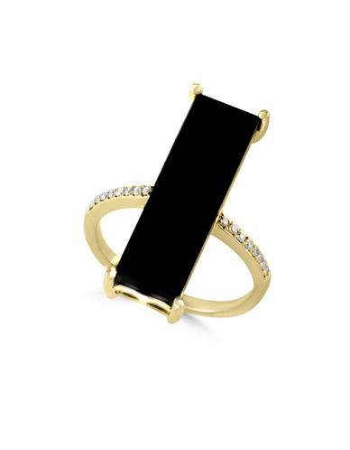 Effy 14K Yellow Gold Onyx Bar Ring with 0.07 TCW Diamonds-ONYX-7