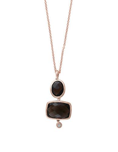 Effy 14K Rose Gold Smoky Quartz Geometric Drop Earrings with 0.04 TCW  Diamonds-SMOKY-One Size