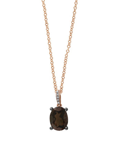 Effy 14K Rose Gold Smoky Quartz Pendant Necklace with  0.02 TCW  Diamonds-SMOKY-One Size