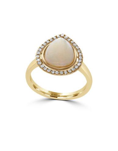 Effy 14K Yellow Gold Opal Teardrop Ring with  0.15 TCW Diamonds-OPAL-7