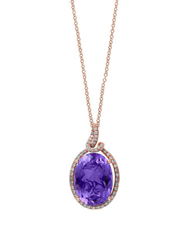 Effy Oval Amethyst Pendant Necklace with  0.2 TCW Diamonds-AMETHYST-One Size