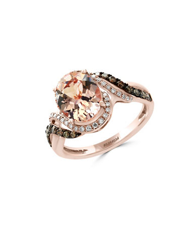 Effy 14K Rose Gold Morganite Ring with 0.36TCW Brown Diamonds-MORGANITE-7