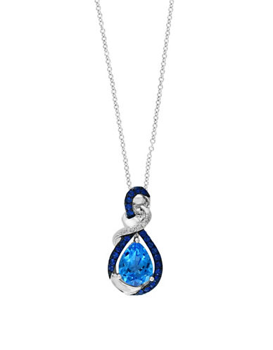 Effy 14K White Gold Sapphire Infinity Pendent Necklace with  0.03 TCW Diamonds-BLUE TOPAZ-One Size