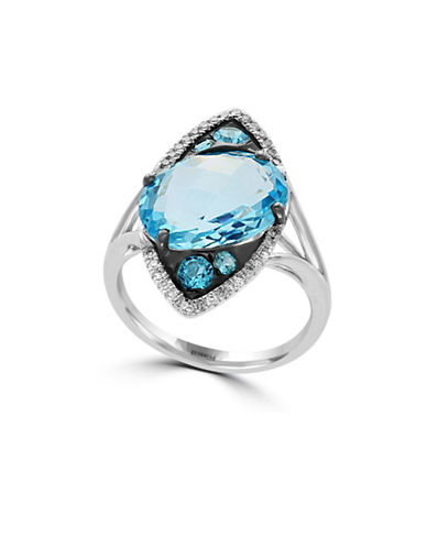 Effy 14K White Gold Blue Topaz Solitaire Ring with  0.13 TCW Diamonds-BLUE TOPAZ-7