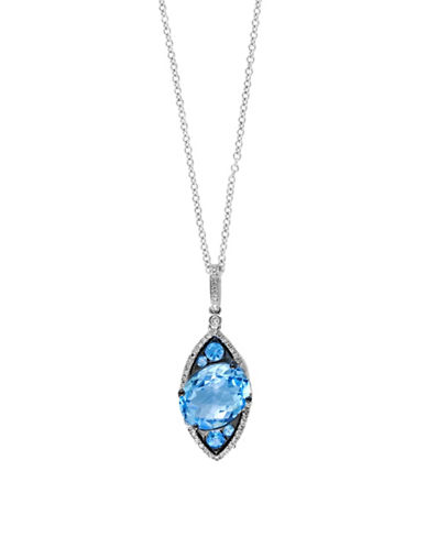 Effy 14K White Gold Blue Topaz Solitaire Pendent Necklace with  0.16 TCW Diamonds-BLUE TOPAZ-One Size