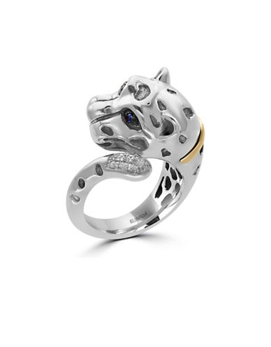 Effy 18K Yellow Gold Sterling Silver Sapphire Leopard Ring with 0.04 TCW Diamonds-SAPPHIRE-7