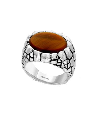 Effy Mens Sterling Silver Tiger Eye Ring-SILVER-10