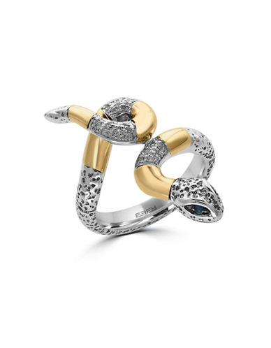 Effy 18K Yellow Gold Sterling Silver Sapphire Snake Ring with 0.09 TCW Diamonds-SAPPHIRE-7