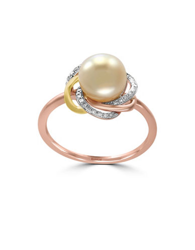 Effy 14K Three-Tone Gold 8mm Freshwater Pearl Ring with 0.09 TCW Diamonds-PEARL-One Size