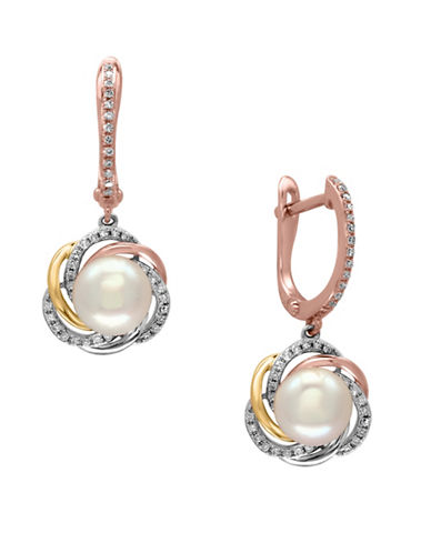Effy 14K Three-Tone Gold  8mm Freshwater Pearl Earrings with 0.12 TCW Diamonds-PEARL-One Size