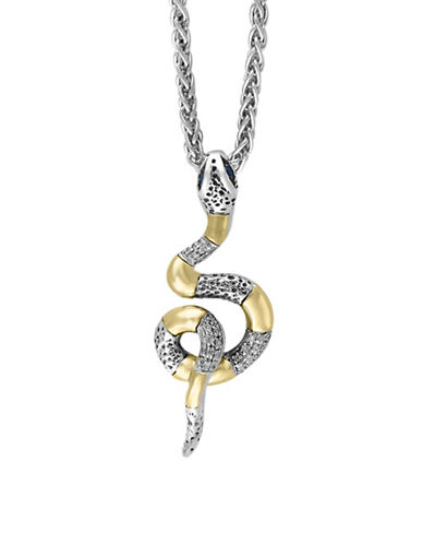 Effy 18K Yellow Gold and Sterling Silver Snake Pendant with 0.09 TCW Diamonds-SAPPHIRE-One Size