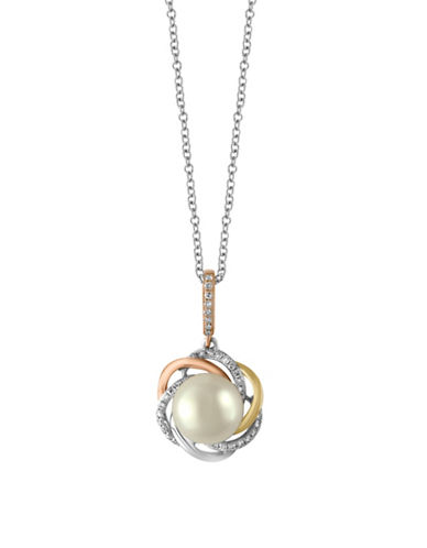 Effy 14K Three-Tone Gold 8mm Freshwater Pearl Pendant Necklace with 0.12 TCW Diamonds-PEARL-One Size