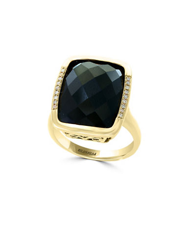 Effy 14K Yellow Gold Onyx and 0.06TCW Diamond Rectangle Ring-ONYX-7