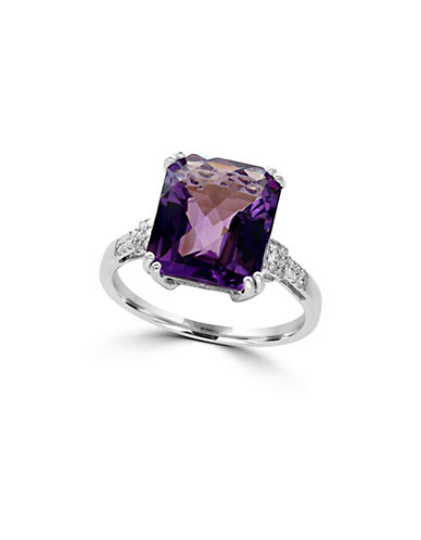 Effy 14K White Gold 0.11TCW Diamond and Amethyst Ring-AMETHYST-7
