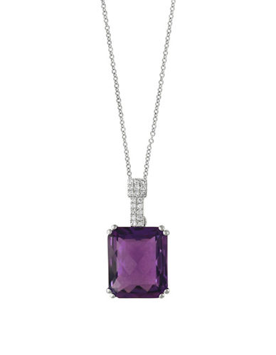 Effy 14K White Gold Amethyst and 0.06TCW Diamond Pendant Necklace-AMETHYST-One Size