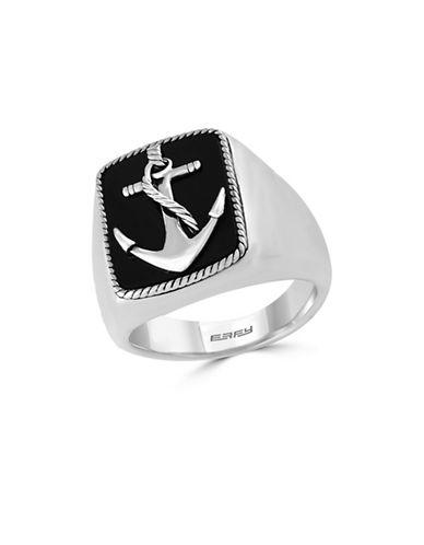 Effy Mens Onyx Sterling Silver Anchor Ring-ONYX-10