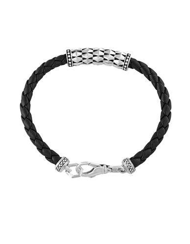 Effy 925 Sterling Silver Leather Bracelet-BLACK-One Size