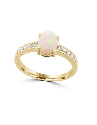 Effy 14K Yellow Gold Opal and Diamond Ring-OPAL-7