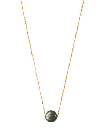 Effy 10mm Tahitian Pearl and 14K Yellow Gold Pendant Necklace-BLACK-One Size