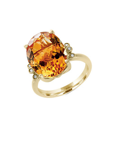 Effy 14K Yellow Gold Citrine and 0.03TCW Diamond Ring-CITRINE-7