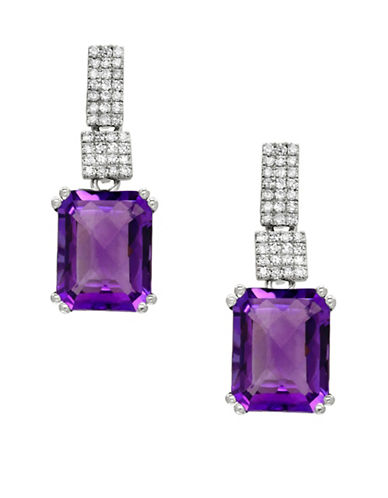 Effy 14K White Gold Amethyst Earrings with 0.21TCW Diamonds-AMETHYST-One Size
