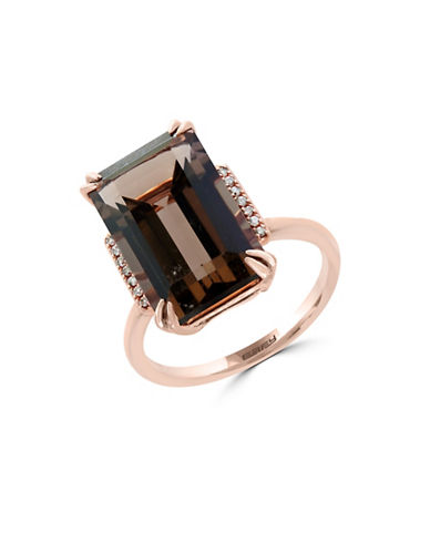 Effy 0.05 TCW Diamonds, Smoky Quartz and 14K Rose Gold Ring-BROWN QUARTZ-7