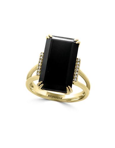 Effy 14K Yellow Gold Onyx Ring with 0.05 TCW Diamonds-ONYX-7
