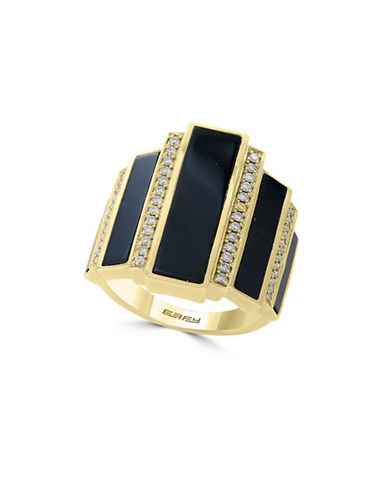 Effy 14K Yellow Gold Onyx and 0.26TCW Diamond Ring-ONYX-7