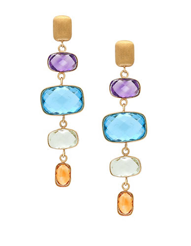 Effy 14K Gold Amethyst Blue Topaz and Citrine Earrings-MULTI-One Size