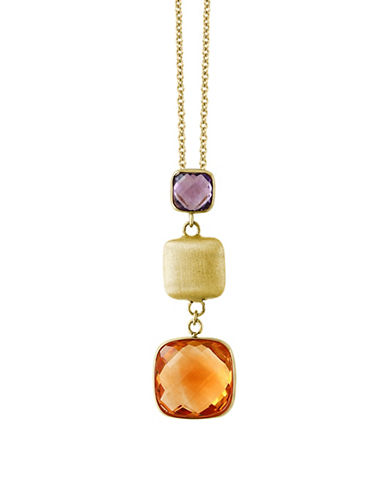 Effy 14K Yellow Gold Amethyst and Citrine Pendant Necklace-MULTI-One Size