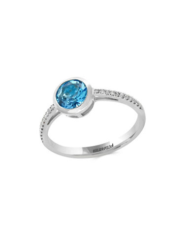 Effy 14K White Gold Blue Topaz and 0.08TCW Diamond Ring-BLUE TOPAZ-7