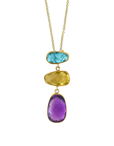 Effy 14K Yellow Gold Blue Topaz and Lemon Quartz Necklace-MULTI-One Size