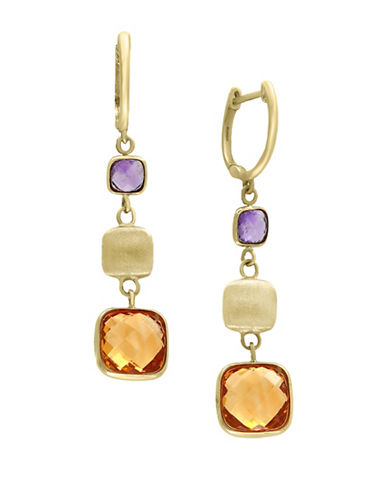 Effy 14K Yellow Gold Amethyst and Citrine Earrings-MULTI-One Size