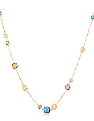 Effy 14K Yellow Gold Multi Stone Station Necklace-MULTI-One Size