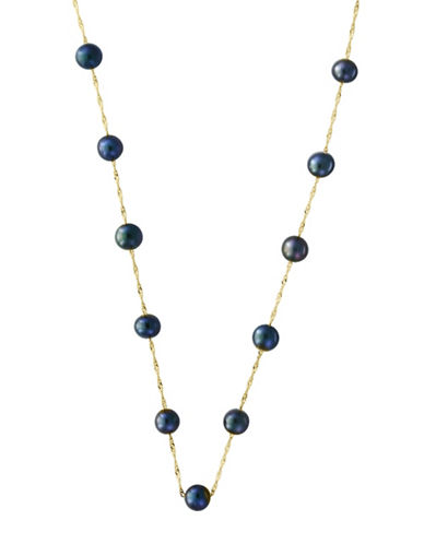 Effy 5.5 MM Round Dyed Freshwater Pearl 14K Yellow Gold Necklace-BLACK-One Size