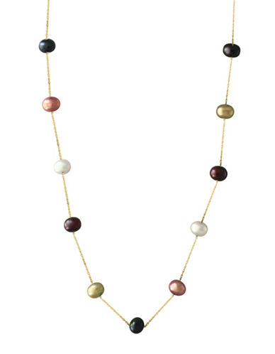 Effy 14K Yellow Gold and 5.5mm Dyed Freshwater Pearl Station Necklace-MULTI-One Size