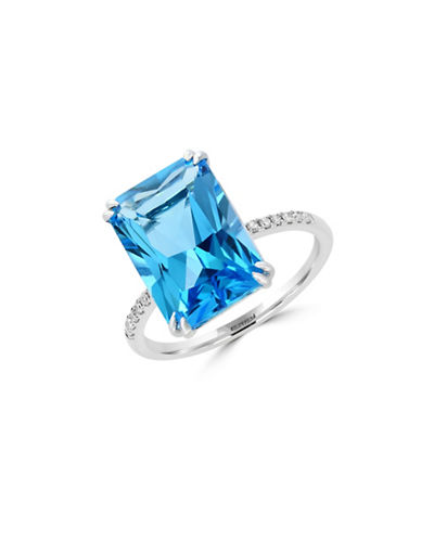 Effy Blue Topaz and 0.06 TCW Diamonds 14K White Gold Ring-BLUE TOPAZ-7