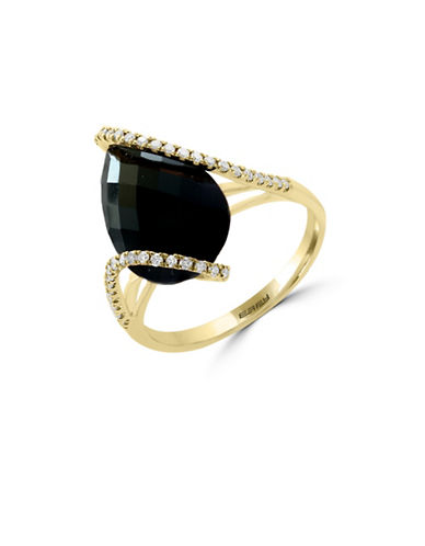 Effy 0.19 TCW Diamond, Onyx and 14K Yellow Gold Ring-ONYX-7