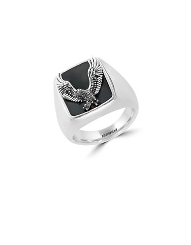 Effy Mens 925 Sterling Silver Onyx  Eagle Ring-ONYX-10