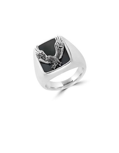 Effy Mens 925 Sterling Silver Onyx  Eagle Ring-ONYX-10