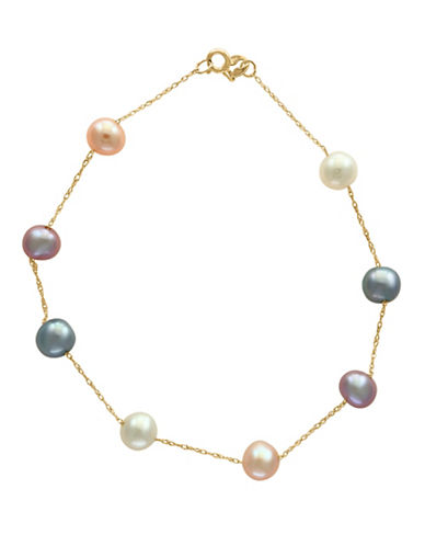 Effy 5.5MM Multi Freshwater Pearl and 14k Gold Bracelet-MULTI-One Size