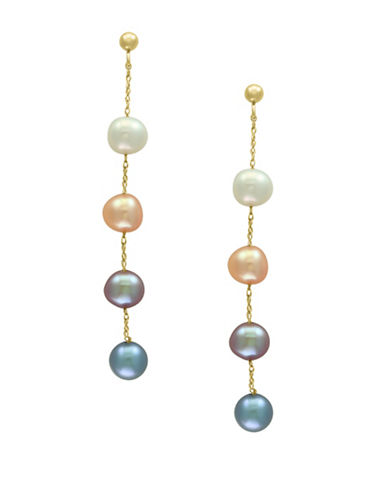 Effy 14K Yellow Gold and 5.5mm Dyed Freshwater Pearl Linear Drop Earrings-MULTI-One Size
