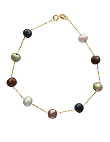 Effy 14K Yellow Gold and 5.5mm Dyed Freshwater Pearl Station Bracelet-MULTI-One Size