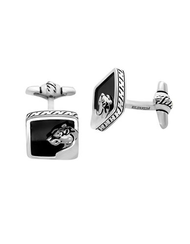 Effy Mens Onyx Sterling Silver Panther Cufflinks-BLACK-One Size